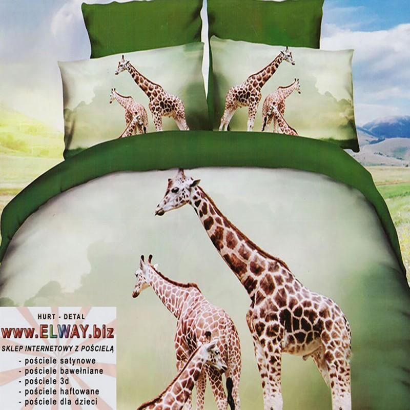 Zielone i jasne prześcieradło 3d 140/200 żyrafy