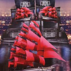 Ciemnoszare prześcieradło 3d 140x200 czerwony statek