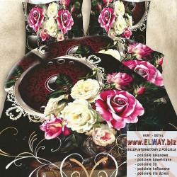 Czarne prześcieradło 150x200 3d w zdobienia i róże