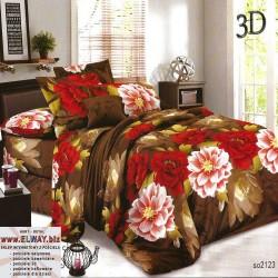 Brązowe prześcieradło w czerwone i różowe kwiaty 160x200 3d