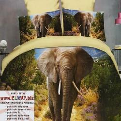Prześcieradło z idącym słoniem 160x200 3d
