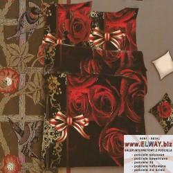 Czarne prześcieradło w czerwone róże 160x200 3d