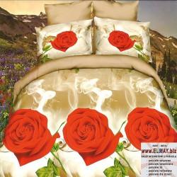 Beżowe prześcieradło w róże 160/200 3d