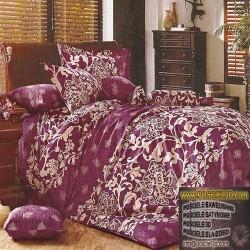 Bawełniane prześcieradło 160x200 3d w wzór fioletowe