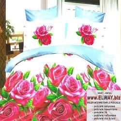 Jasnobłękitne prześcieradło 200x220 3d w róże