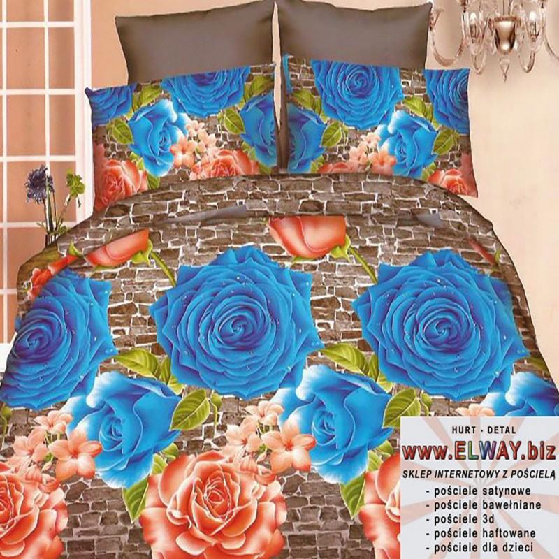 Cieniowane brązowe prześcieradło 200x220 3d niebieskie róże