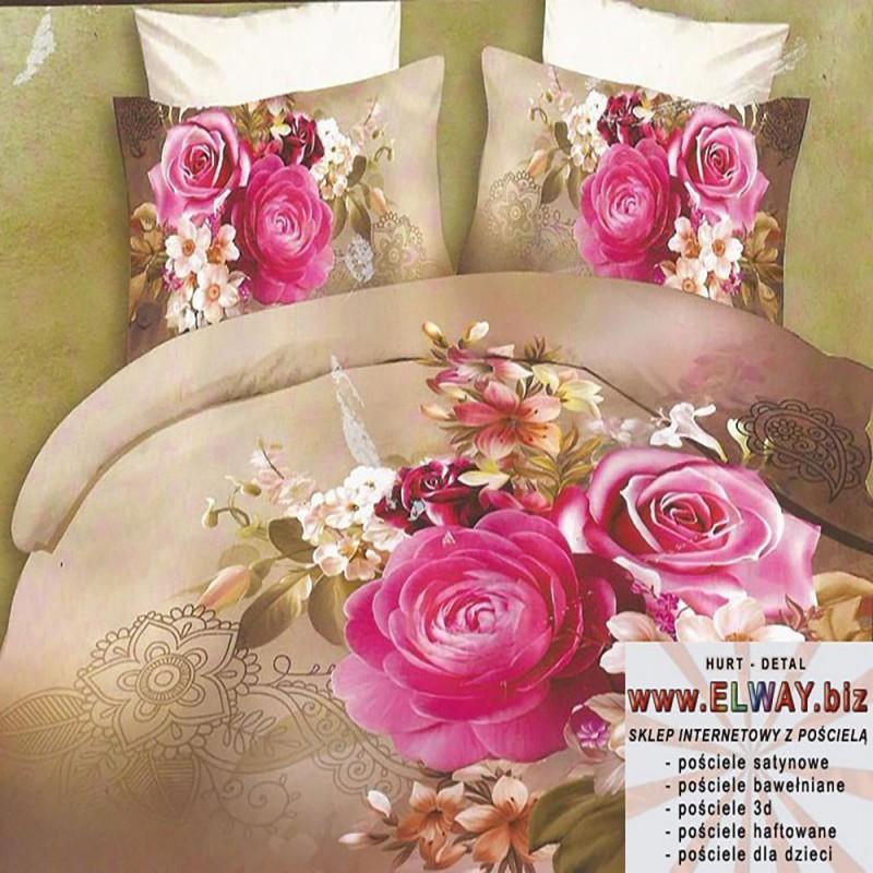 Beżowe prześcieradło 200/220 3d różowe róże