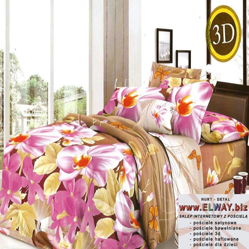 Brązowe prześcieradło w fioletowe storczyki 160x200 bawełna