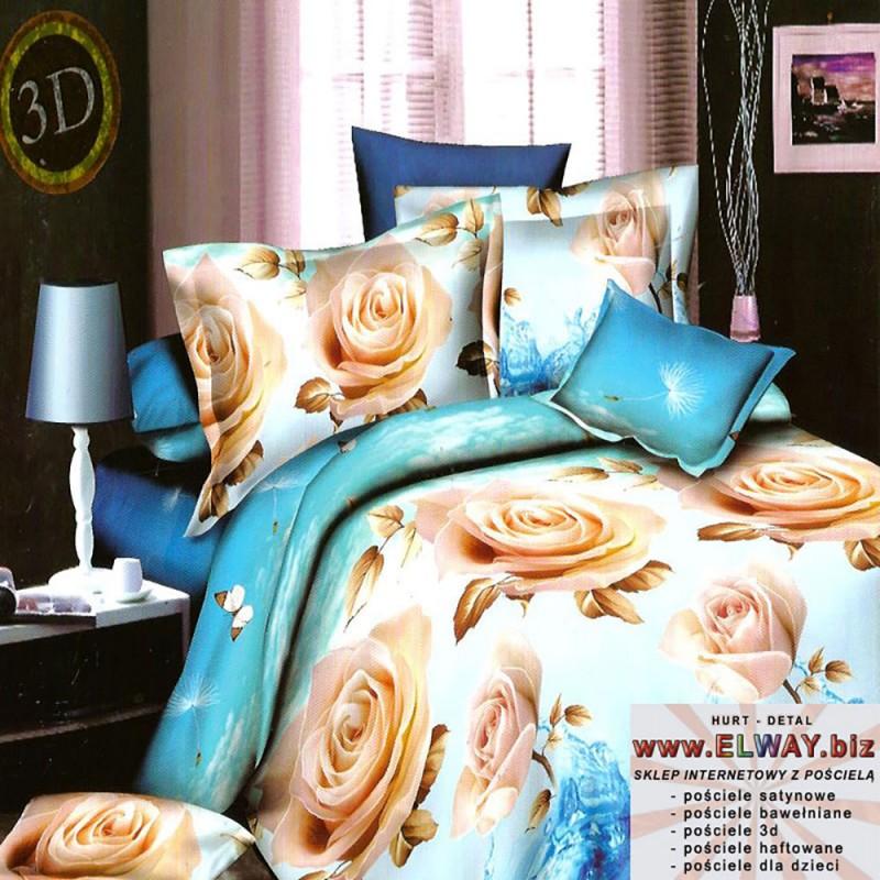 Bawełniane niebieskie prześcieradło 160x200 róże