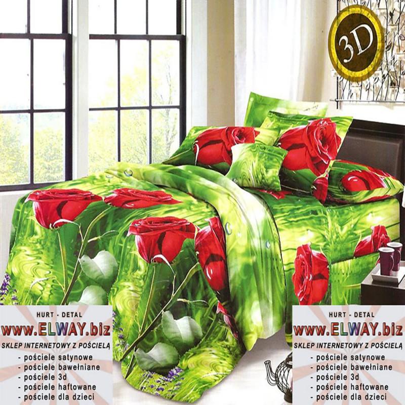 Czerwone róże prześcieradło zielone 160x200 bawełna 3d