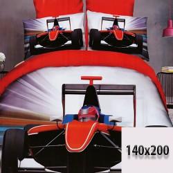 Wyścigówka czerwona  prześcieradło 3d 140x200