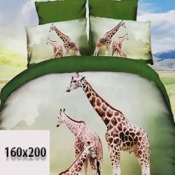 Prześcieradło 160x200 żyrafy odcienie zielonego