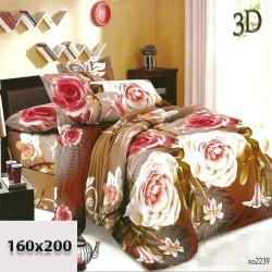 Prześcieradło w jasnoróżowe i różowe róże 160x200 3d cieniowane