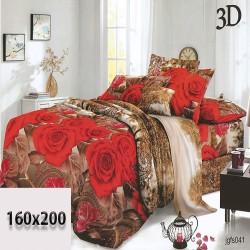 Prześcieradło w kolorach brązowego/beżowego 160/200 czerwone róże 3d