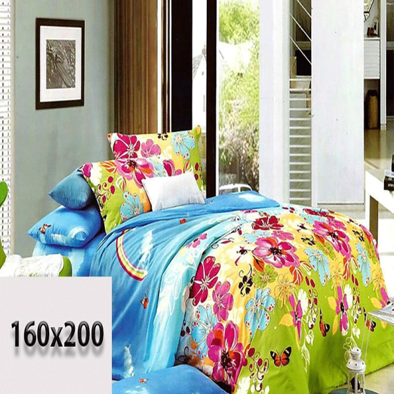 Niebieskie prześcieradło 160/200 3d w kwiaty dla dzieci