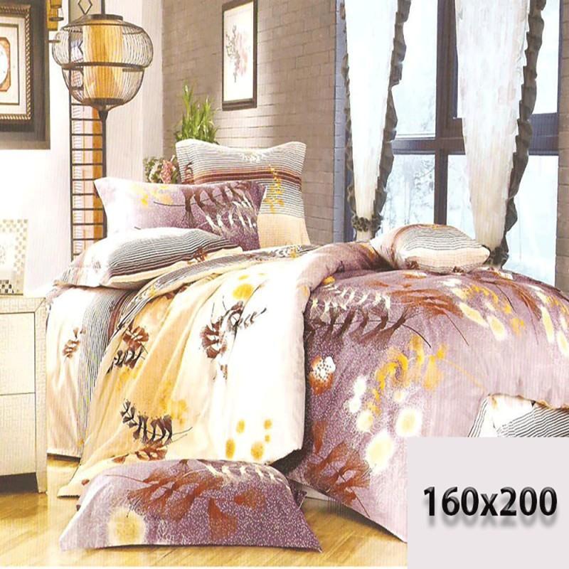 Bardzo ładne prześcieradło 160/200 3d odcienie fioletu w liście