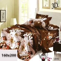 Ciemnobrązowe prześcieradło w białe kwiaty 160/200 bawełna